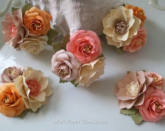 Corsages - Boutonniere - Paper Flowers - Weddings - Bridal Shower - Salmon and Peach - Baby Shower - Any Color - Made To Order