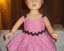 Handmade 18 inch Doll hankerchief dress in pink and black dot - AG34