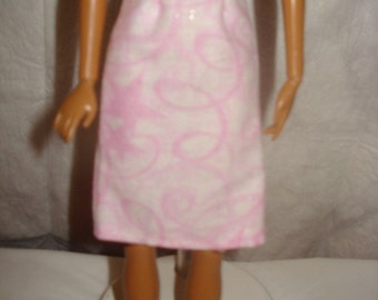 Fashion Doll Coordinates - Pink and white swirl sparkle a-line skirt - es193