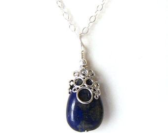 Blue Lapis Necklace: Lapis Lazuli Teardrop Necklace, Blue Lapis Lazuli Pendant with Silver Bubble, Sterling Silver Lapis Lazuli Necklace