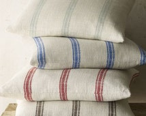 Pillow cover Cushion cover   Very French Laundry linen grain sack stripe