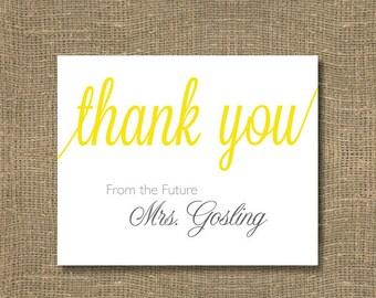 Wedding Thank You Notes / Bridal Thank You / Thank You From the  Future Mrs. - Bridal Thank You Cards - PACK OF 50