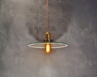 Vintage Industrial Hanging Light w/ Mirrored Steel Shade - Machine Age Reflector Bare Bulb Pendant Lamp,