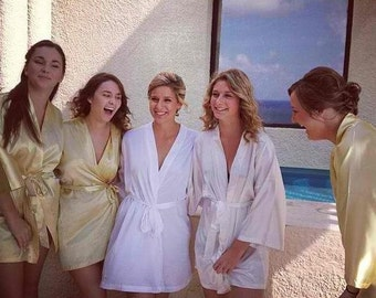 Bridesmaid Robes METAL GOLD wedding robes bridesmaid silk robe dressing gown personalized robe kimono robes floral robe bridal robe ivory