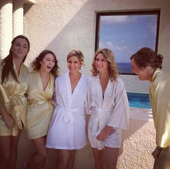 Bridesmaid Robes gold yellow wedding robes bridesmaid silk robe dressing gown personalized robe kimono robes floral robe bridal robe ivory