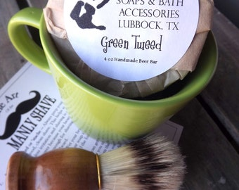 Shaving Mug Set, Lime Green  Vintage Styled Shaving Mug,  Grooming Kit, Boar Brush, Handmade Soap
