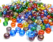 Rainbow Seed Beads, Assorted Color Glass Sead Beads, Size 6/0 4mm, 1oz