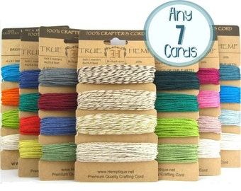 Hemp Twine Set, Any 7 Cards, 1mm Hemp Craft Cord Color Card Bundle Pack