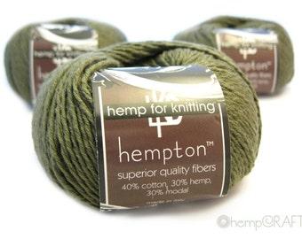 Hemp Cotton Yarn, Olive Drab Green 130yd Hemp/Cotton/Modal Blend