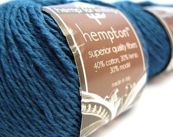 Hemp Cotton Yarn, Navy Blue, Indigo 130yd Hemp/Cotton/Modal Blend