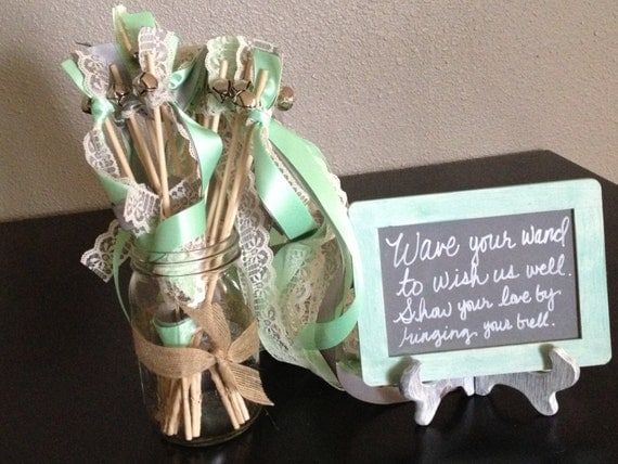 Items similar to rustic wedding wands burlap lace and for Wedding wands