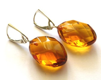 Baltic Amber Honey Earrings Faceted Dangling 1.8""
