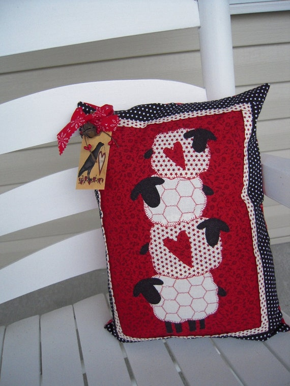 Decorative Primitive Pillows : Primitive Pillows Primitive Decor Prim Sheep Quilted
