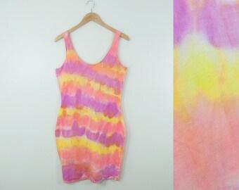 80s Vintage Sunset Tie Dye Cotton Bodycon Tank Dress (M, L)