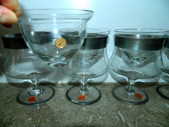 vintage shrimp cocktail glasses arcadia crystal silver band. Black Bedroom Furniture Sets. Home Design Ideas