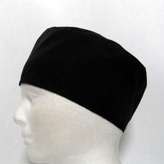 Mens Black Scrub Hat, Surgical Cap, Chefs Cap, or Skull Cap