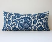 Floral Batik Decorative Designer Bolster Pillow Cover 10x22 NEW Navy Blue Indigo Accent Throw Cushion Ikat boho