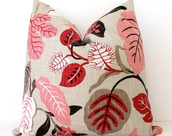 "Modern Pink and Tan Decorative Designer Pillow Cover 20"" Accent floral raspberry coral brown grey black red Josef Frank Style leaves spring"