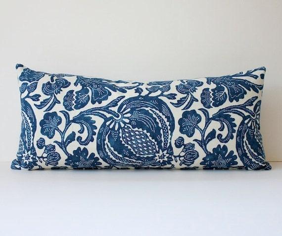 Floral Batik Decorative Designer Bolster Pillow Cover 10x22 NEW Navy Blue Indigo Accent Throw Cushion Ikat boho