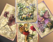 FAIRIES in my GARDEN Ephemera BACKGROUND  4 pages Paper 345 documents Digital Collage for crafts, scrapbook cards, Instant download