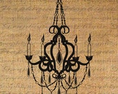 CHANDELIER in SILHOUETTE Candles FRENCH Crystal Drops Digital Image Download Transfer For Pillows Totes Tea Towels Burlap No.4477