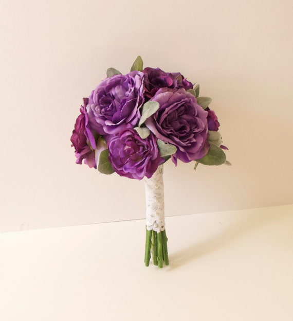garden rose and peony purple bouquet silk bouquet artificial bouquet silvery green leaves lambs ear leaves - Garden Rose And Peony