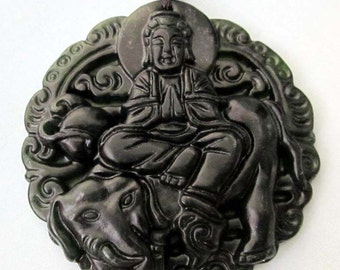 Natural Stone Tibet Buddhist Kwan-Yin Elephant Amulet Pendant 45mm x 45mm  TH032