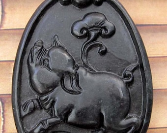 Natural Stone Fortune Pig Yuanbao Amulet Pendant 40mm x 30mm  TH051