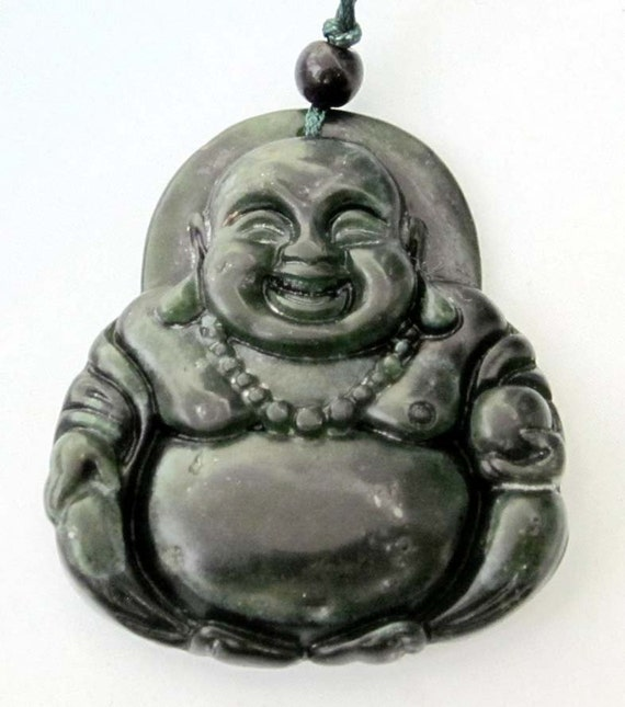 Natural Stone Tibet Buddhist Laughing Buddha Amulet Pendant 41mm x 36mm  TH025