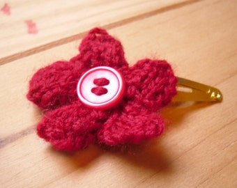 Knitted Hair Clip, Red Hair Flower