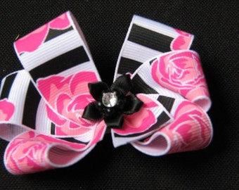 Boutique Style Pink Flower with Black/White Stripes Hairbow