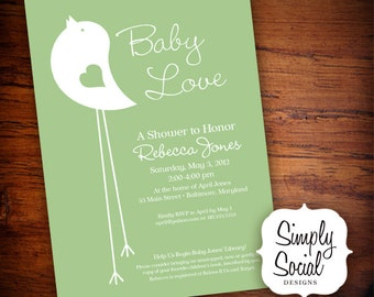 Mint Little Bird Baby Shower Invitation Gender Neutral