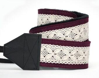 Lace Camera Strap - Plum Linen & Lace