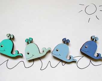 Magnets- Set of 4 wooden magnets-Blue whales -funny magnets for children/teens/adults/ hostess gift