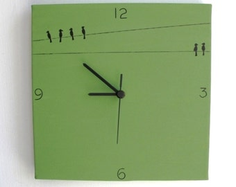 Wall clock- Birds - green and black clock, decorative clock, kitchen clock, unique clock,Hand painted on canvas clock