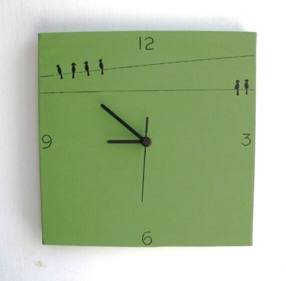 Wall clock- Birds - green and black clock, decorative clock, kitchen clock, unique clock,Hand painted on canvas clock