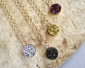 Druzy Necklace Tiny Titanium Druzy Quartz 14K Gold Fill Bezel Set