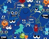 Monster Outlines - Dark Blue - Cotton Quilting Fabric - BTY