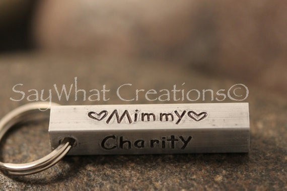 Aluminum Bar Key Chain Hand Stamped Stamped on All Four Sides