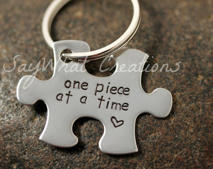 Custom Hand Stamped Puzzle Piece Key Chain
