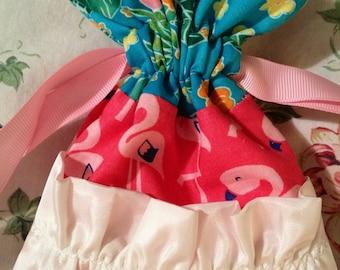 Drawstring Bag Ruffle Ribbon Pink Flamingo Tropical
