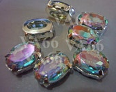 Oval Sew On Rhinestones Crystal Crystal AB DIY 15 10mm x 14mm 4 hole Large Silver Montee Faceted Acrylic Glass Look Rhinestone Beads sewing