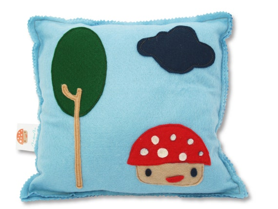 Hand made Funky Felt Pillow by Mezoome Designs (Mr. Mush)