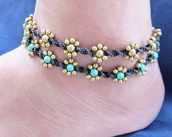 Daisy Flower Line with Brass Bead  Anklet  A312
