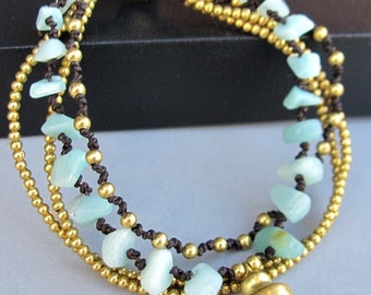 Multi Strand Amazonite and Brass Bead Bracelet