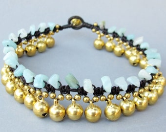 Round Brass Bell and Amazonite Stone Anklet