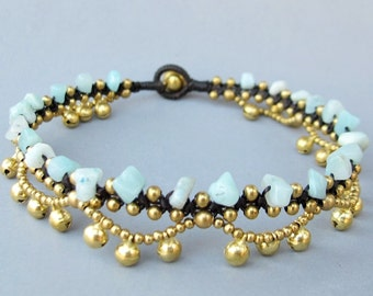 Boho Anklet Little Cascade Brass Bell with Amazonite Stone