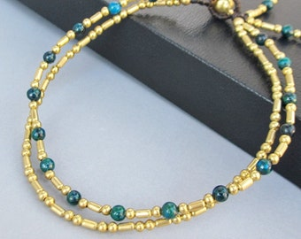 Double Strand Ankle Bracelet with Fancy Brass Bead and Chrysocolla Bead