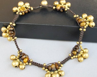 Handmade Woven Anklet with Tiger Eye Stone