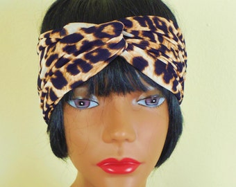 Brown Leopard Turban is stretchy
